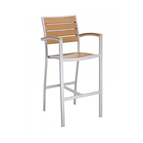 Classic Breezeway Outdoor Restaurant Bar Height Chair With Aluminum Frame And Faux Teak Seat