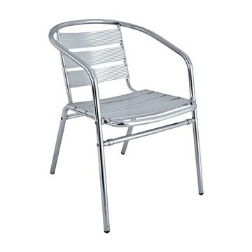 Brewhouse Industrial Metal Outdoor Restaurant Dining Chair With Stackable Aluminum Frame
