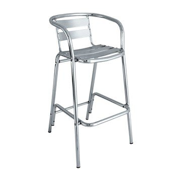 Brewhouse Industrial Metal Outdoor Restaurant Bar Height Chair With Aluminum Frame