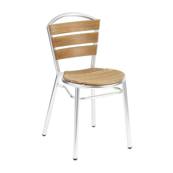 Coffee House Outdoor Restaurant Armless Dining Chair with Stackable Aluminum Frame