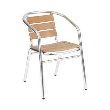 Coffee House Outdoor Restaurant Dining Chair With Stackable Aluminum Frame