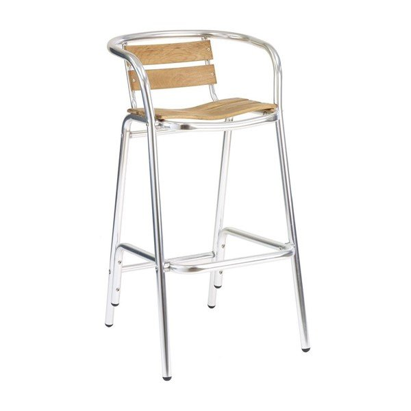 Coffee House Outdoor Restaurant Bar Height Chair With Aluminum Frame