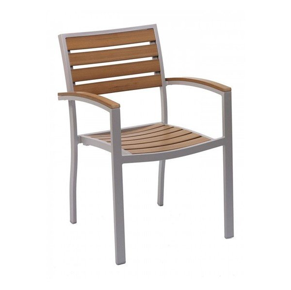 Classic Breezeway Outdoor Restaurant Chair With Stackable Aluminum Frame And Faux Teak Seat