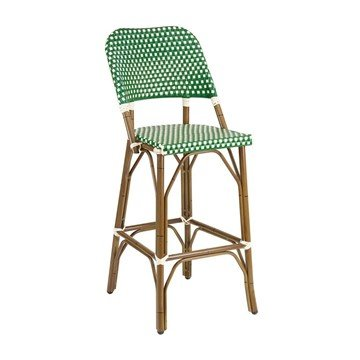 Fiji Outdoor Restaurant Armless Bar Height Chair With Aluminum Frame And PE Weave Seat