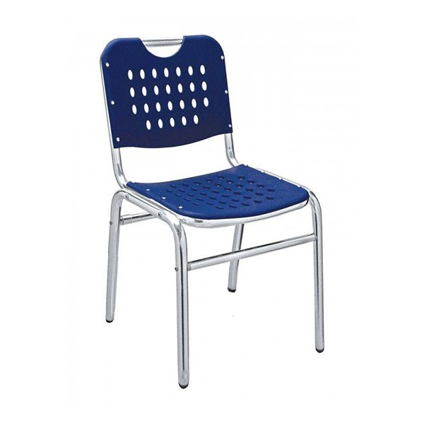 School House Outdoor Restaurant Armless Chair With Stackable Aluminum Frame And Polypropylene Seat