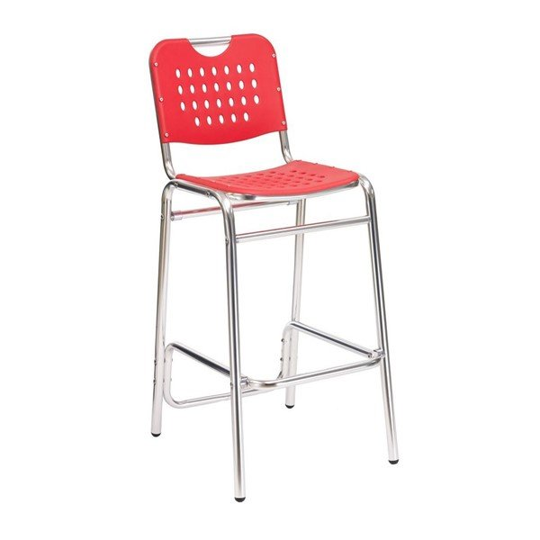School House Outdoor Restaurant Armless Bar Height Chair With Aluminum Frame And Polypropylene Seat