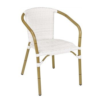 Cafe Outdoor Restaurant Dining Chair With Stackable Aluminum Frame And PE Weave Seat