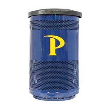 35 Gallon Stadium Series Custom Logo Galvanneal Steel Trash Receptacle With Plastic Liner