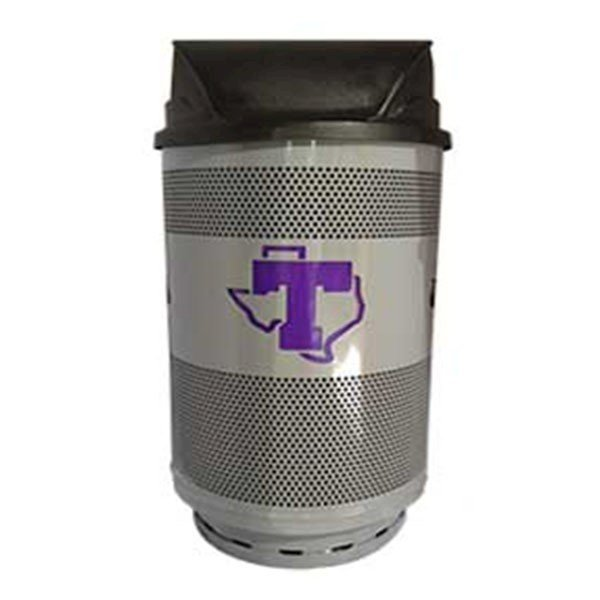 55 Gallon Stadium Series Custom Logo Galvanneal Steel Trash Receptacle With Plastic Liner