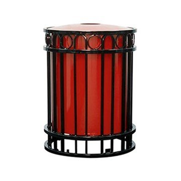 32 Gallon Miami Collection Round Steel Portable Trash Receptacle w/ Liner & Lid