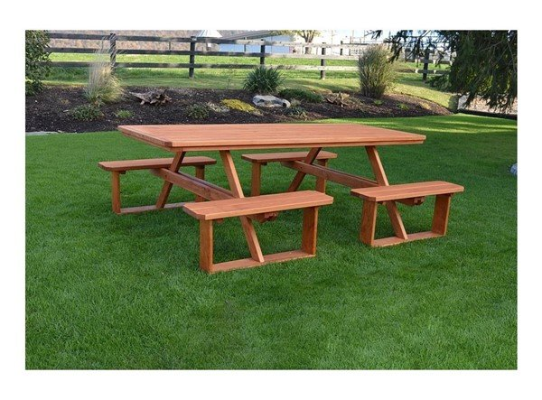 8' Wooden Rectangular Walk-In Picnic Table - 375 Lbs.