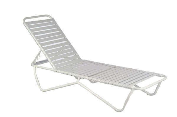 Sale St Lucia Vinyl Strap Chaise Lounge Commercial White Aluminum Frame 19 Lbs Furniture Leisure