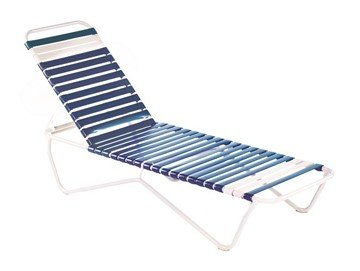 Sale St. Lucia Vinyl Strap Chaise Lounge - Commercial White Aluminum Frame