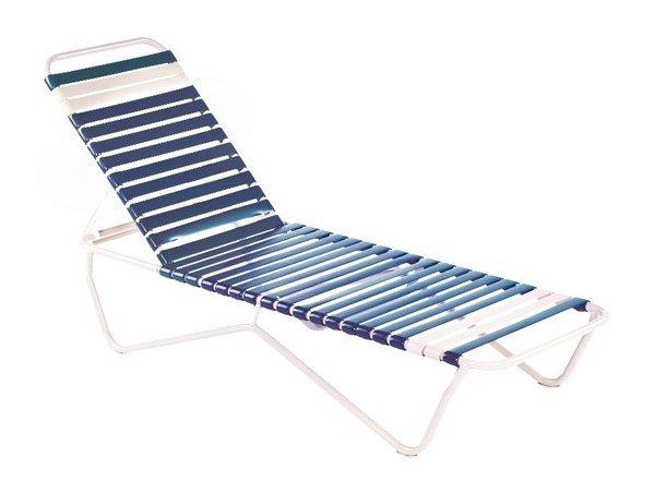 Sale St. Lucia Vinyl Strap Chaise Lounge - Commercial White Aluminum Frame