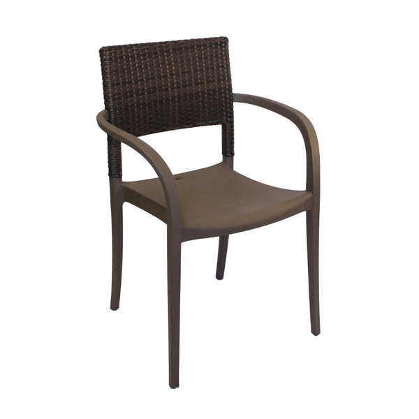 Java Stacking Commercial Plastic Resin Dining Chair - Bronze