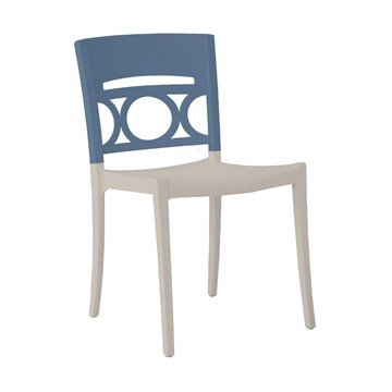 Moon STacking Commercial Plastic Resin Dining Chair with Armless Frame - Denim Blue