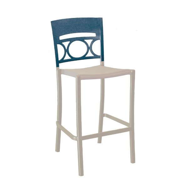Moon Armless Stacking Commercial Plastic Resin barstool - Denim Blue