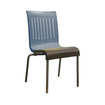 Viva Stacking Commercial Plastic Resin Dining Chair - Denim Blue