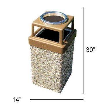 7 Gallon Commercial Concrete Square Trash Receptacle with Ash Top