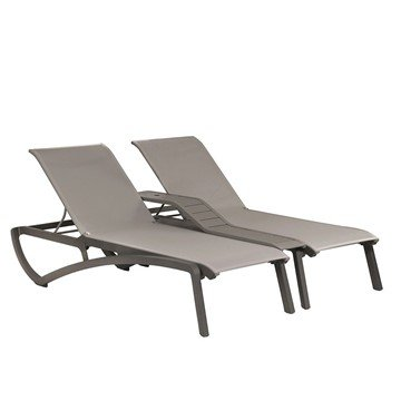 Sunset Sling Duo Chaise Lounge With Plastic Resin Frame And Middle Console - Gray/Platinum Gray