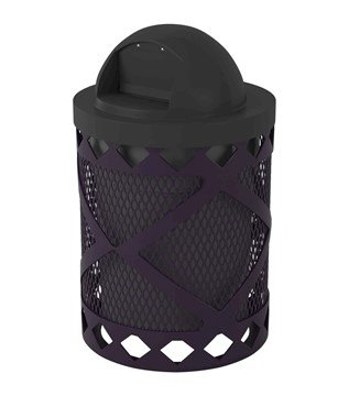 Avenue Expanded 32 Gallon Metal Waste Receptacle & Liner W/ Dome Lid