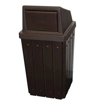 32 Gallon Plastic Receptacle With Liner And Swing Door Lid