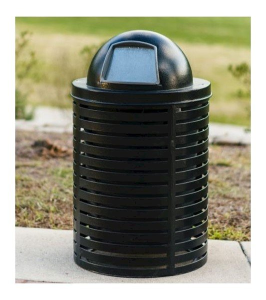 Horizontal Strap Steel Trash Receptacle with Dome Top and Liner - 22 or 32 Gallon