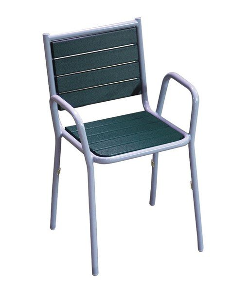 Recycled Plastic Stacking Dining Chair With Powder Coated Steel Frame