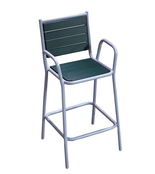 Recycled Plastic Bar Height Chair With Powder Coated Steel Frame