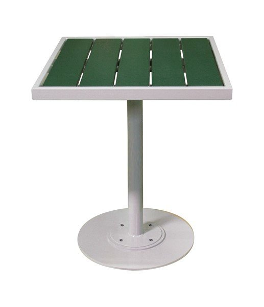 """32"""" Recycled Plastic Slatted Pedestal Bar Height Table With Powder Coated Steel Frame"""