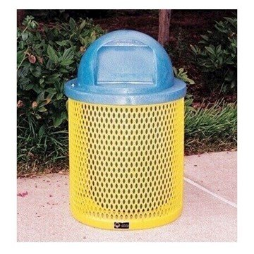 Standard 22 Gallon Metal Waste Receptacle & Liner W/ Dome Lid