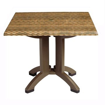Square Atlanta Plastic Resin Table with Wicker Design Top