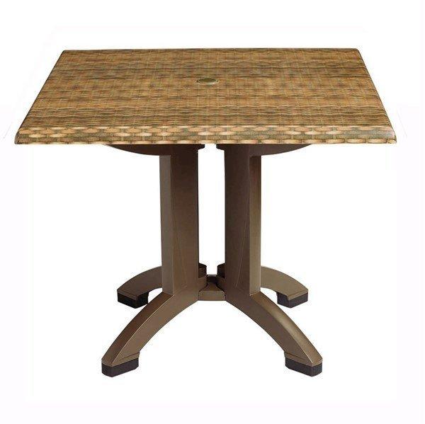 Square Atlanta Plastic Resin Table with Wicker Design Top