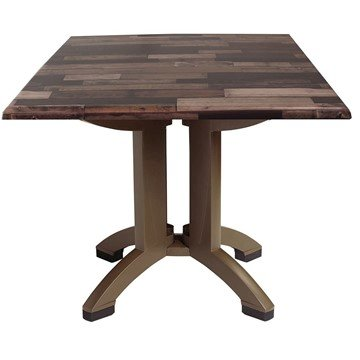 Square Shiplap Decor Atlanta Plastic Resin Table