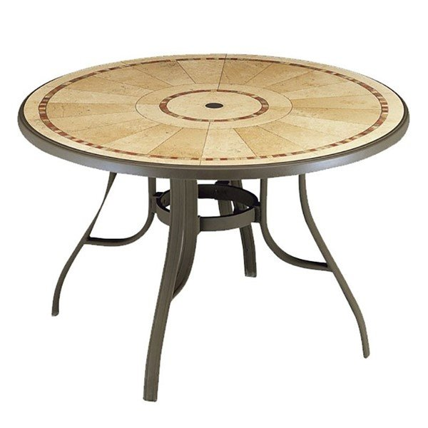 "48"" Round Louisiana Pietra Decor Aluminum Patio Table"