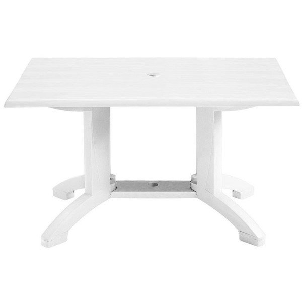"48"" x 32"" Rectangle Atlanta White Plastic Resin Patio Table - 51 lbs."