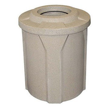 "42 Gallon Round Plastic Receptacle With 10"" Recycle Lid & Liner - 23 Lbs."
