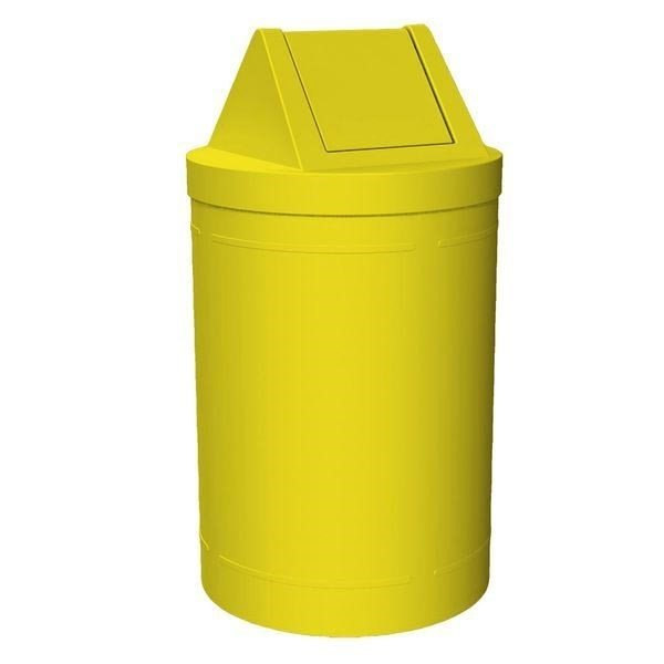 55 Gallon Round Smooth Plastic Trash Receptacle With Swing Top Lid & Liner - 38 Lbs.