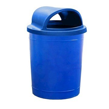 55 Gallon Round Smooth Plastic Trash Receptacle with 2-Way Open Top Lid & Liner - 38 lbs.