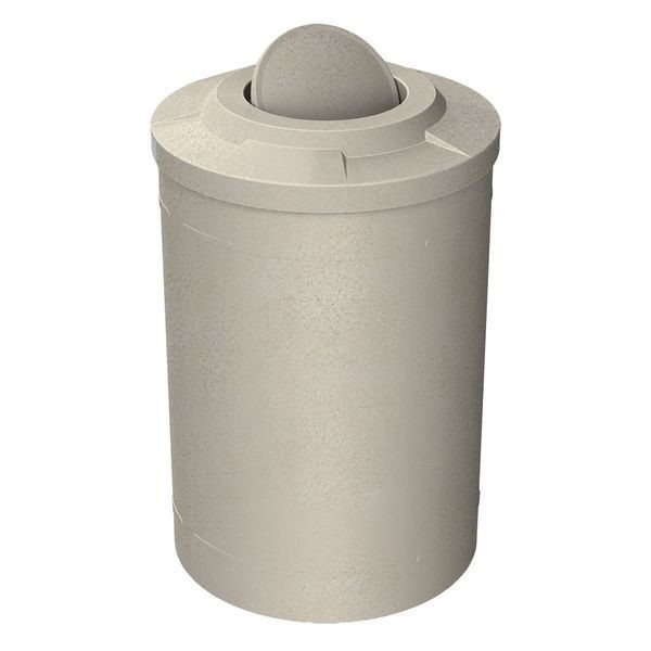 55 Gallon Round Smooth Plastic Trash Receptacle with Bug Barrier Flat Lid & Liner - 29 lbs.