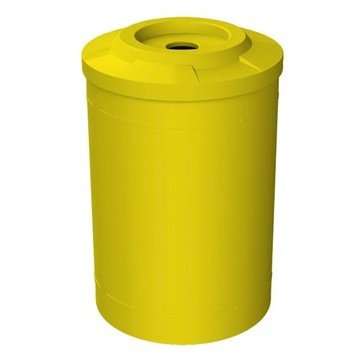 "55 Gallon Round Smooth Plastic Recycling Receptacle with 4"" Opening Flat Top & Liner - 28 lbs."