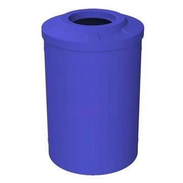 "55 Gallon Round Smooth Plastic Recycling Receptacle with 10"" Opening Flat Top & Liner - 28 lbs."