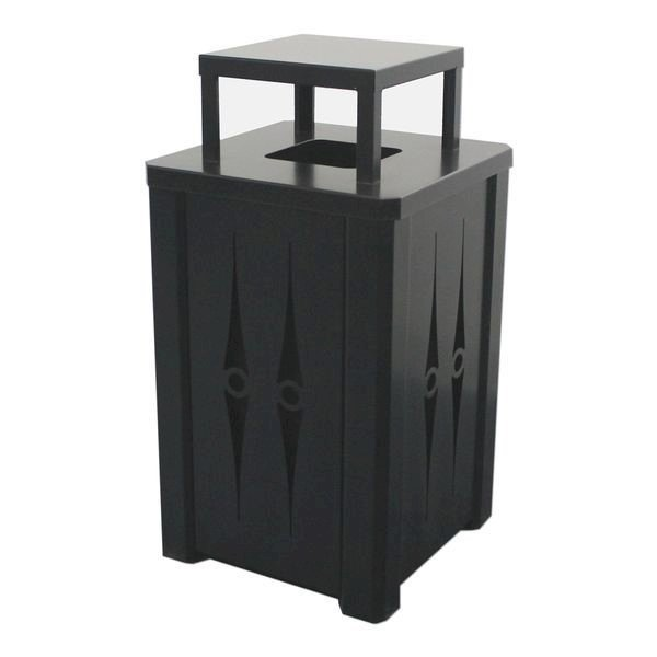 32 Gallon Square Custom Cut Steel Panel Trash Receptacle with Cover Top & Liner - 61 lbs.