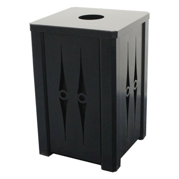 32 Gallon Square Custom Cut Steel Panel Trash Receptacle with Recycle Top & Liner - 61 lbs.