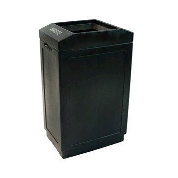 39 Gallon Plastic Square Waste Receptacle With Open Top - 27 Lbs.