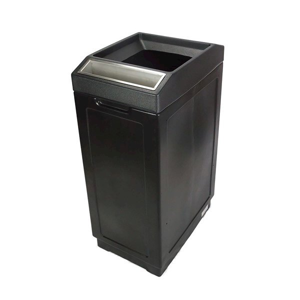 39 Gallon Plastic Square Trash Receptacle With Ashtray Open Top And Hard Plastic Liner - 39 Lbs.