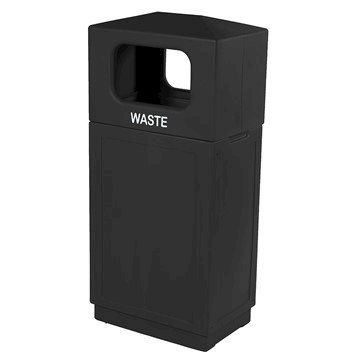 39 Gallon Plastic Square Trash Receptacle with Hooded Top and Hard Plastic Liner - 39 lbs.