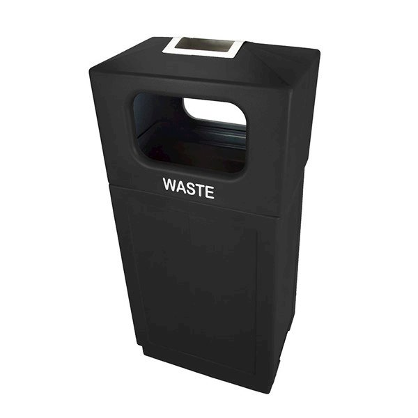 39 Gallon Plastic Square Trash Receptacle with Ashtray Hooded Top and Hard Plastic Liner - 42 lbs.