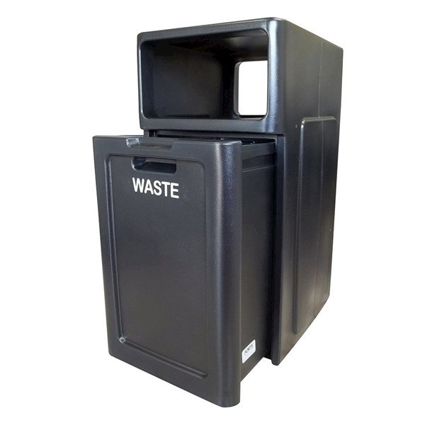 42 Gallon Plastic Square Trash Receptacle With Enclosed Top And Hard Plastic Liner - 42 Lbs.