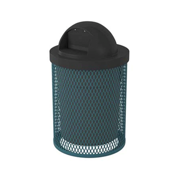 Standard 32 Gallon Metal Waste Receptacle & Liner W/ Dome Lid